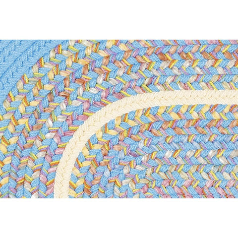 Kids Braided Area Rug in Aqua Blue Banded