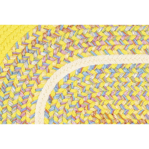 Kids Braided Area Rug in Yellow Banded
