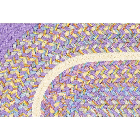 Kids Braided Area Rug in Violet Banded