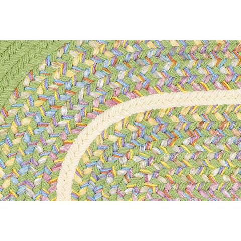 Kids Braided Area Rug in Lime Green Banded