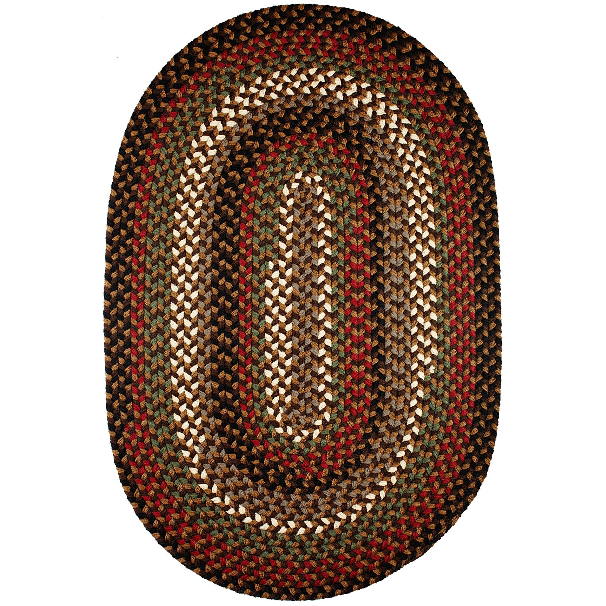 Santa Braided Area Rug in Brown Fudge