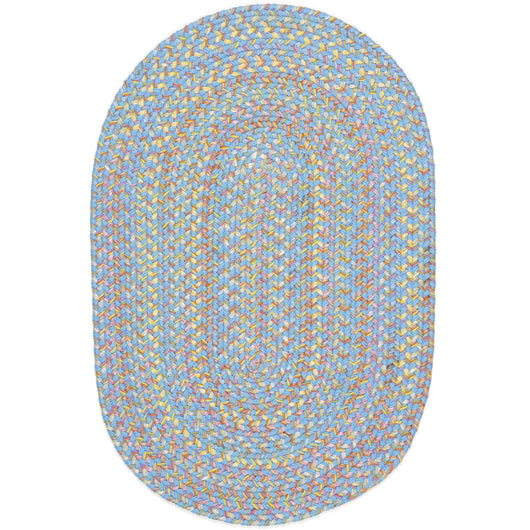 Hipster Kids Braided Rug in Aqua Blue Multi