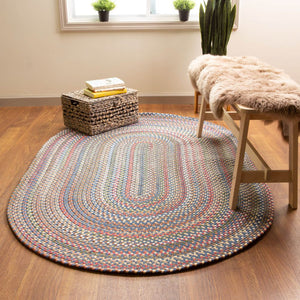 Roxbury Colorful Outdoor Braided Rug in Blue / Natural Multi
