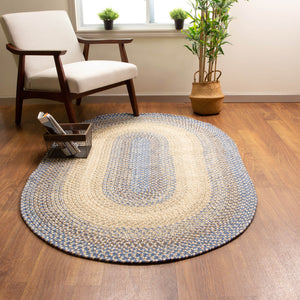 Ridgewood Premium Kitchen Braided Rug in Blue / Beige