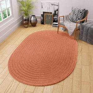 Maui Braided Red Solid Rug in Almond