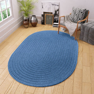 Maui Braided Solid Blue Rug in French Blue