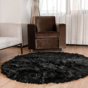Plush & Soft Faux Fur Shag Area Rug in Black