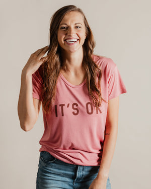 It's Ok Tee womens August Ink rose XS
