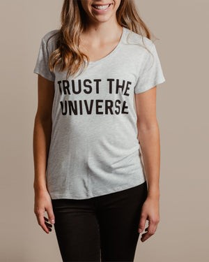 Trust The Universe Tee womens August Ink white heather extra small