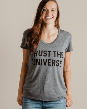Trust The Universe Tee womens August Ink grey extra small