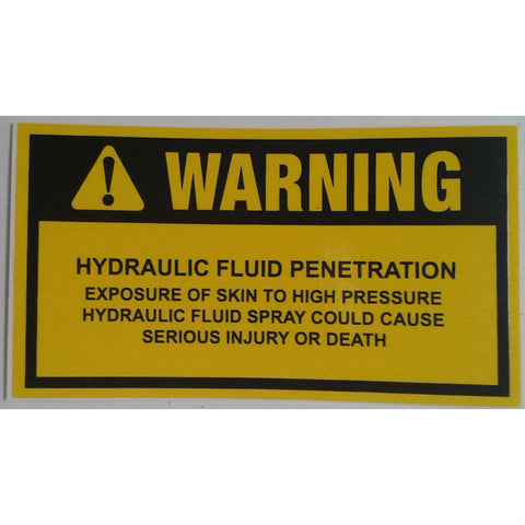 DECAL WARNING HYDRAULIC FLUID SL008