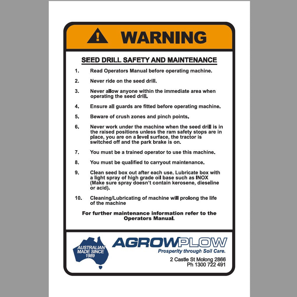 Decal Warning Seed Drill Safety