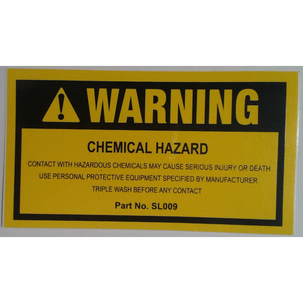 DECAL WARNING CHEMICAL HAZARD SL009