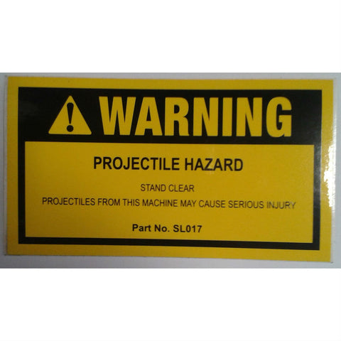 DECAL WARNING PROJECTILE HAZARD