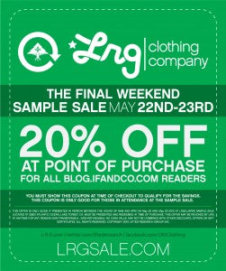 L-R-G SAMPLE SALE WITH BEN BALLER DISCOUNT CODE!