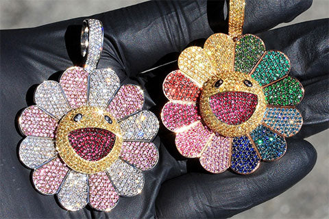 Gold murakami flower pendant fidget spinner piece ben baller and if co recently blessed the world with our latest custom creation for colombian reggaeton extraordinaire j balvin aloadofball Image collections