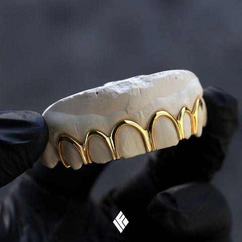 14k Yellow Gold Open Face Top 6 Grillz