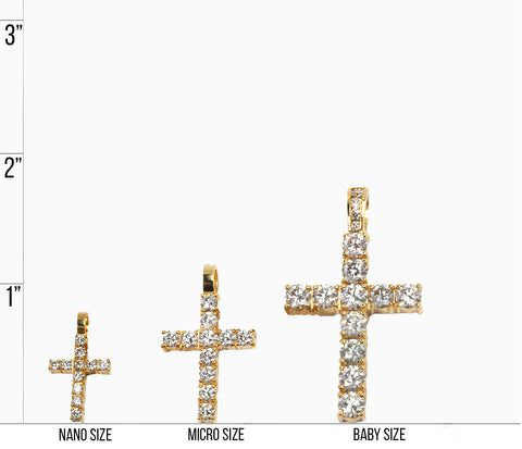cross necklace size chart