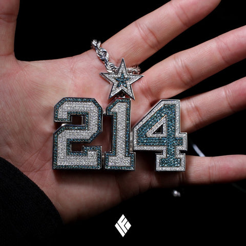 214 dallas cowboys chains for ezekiel elliott dak prescott custom jeweled number aloadofball
