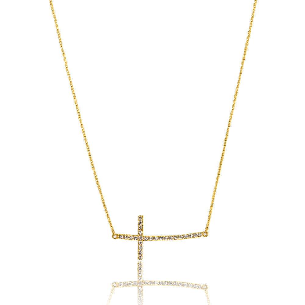Sideways Cross Necklace Gold