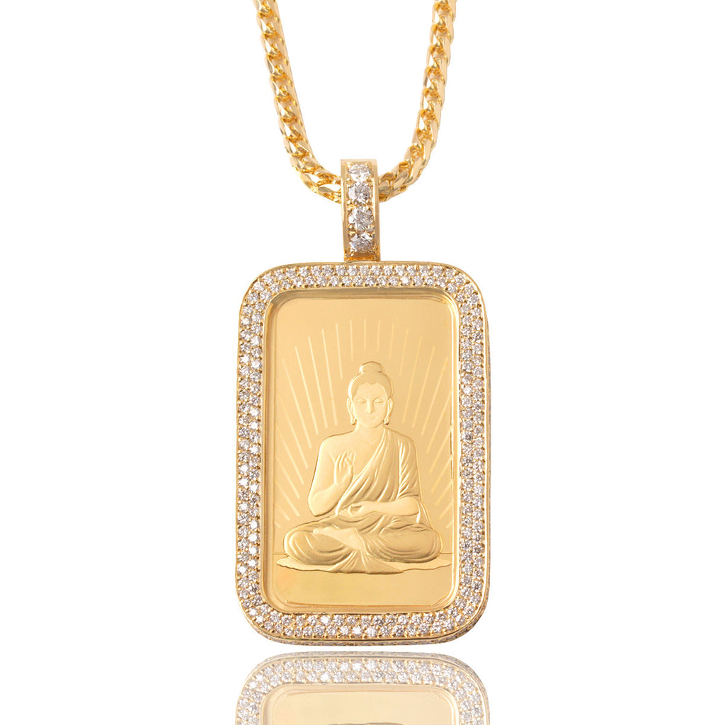 1oz Buddha Gold Bar Necklace With Diamond Bezel IF Co