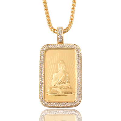 Standard 1oz Suisse Fine Gold Bar Necklace (Buddha, Diamond) - Pendants - IF & Co.