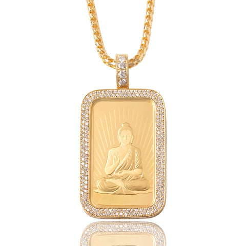 Sitting Buddha Fine Gold Bar Necklace Ifandco