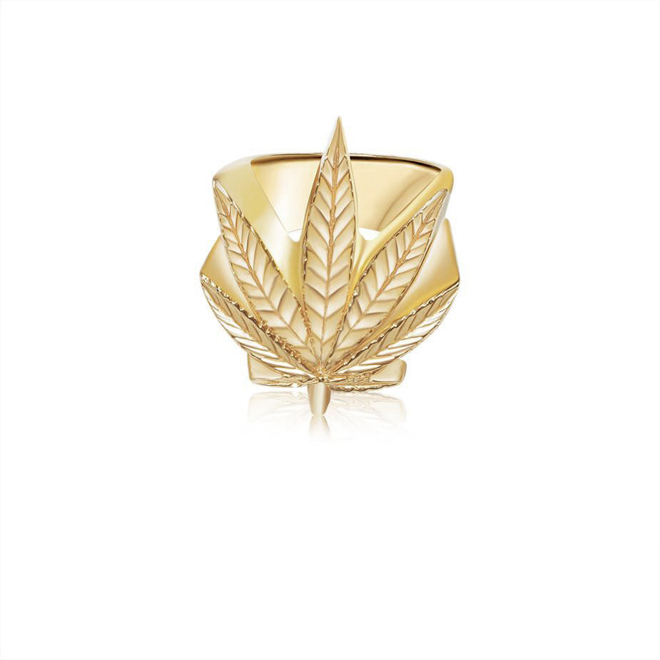 Gold Cannabis Leaf Ring - Rings - IF & Co. Custom Jewelry