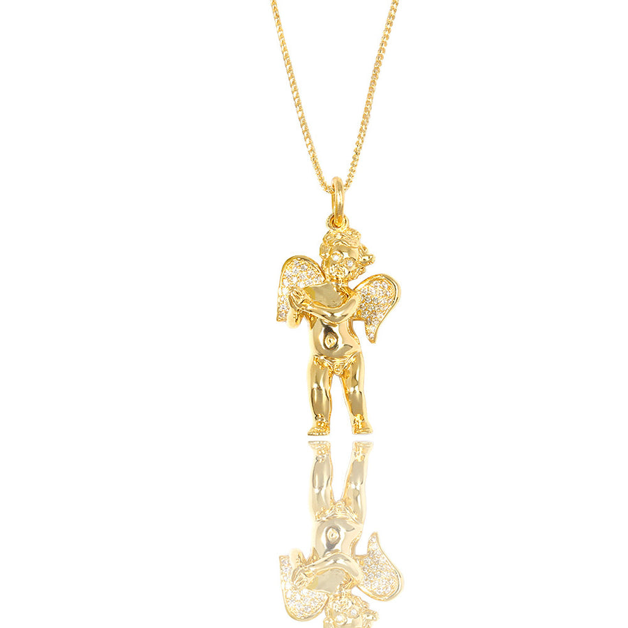 Legacy Piece: Baby Cherub Angel (Praying Hands, Partially Iced) - Pendants - IF & Co. Custom Jewelry