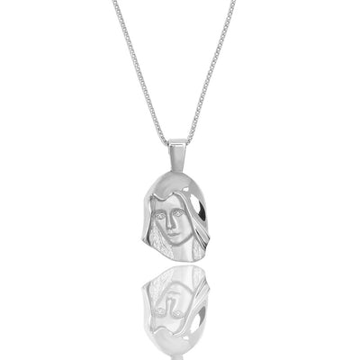 Silver Micro Virgin Mary Necklace (Diamond Eyes) - Pendants - IF & Co.