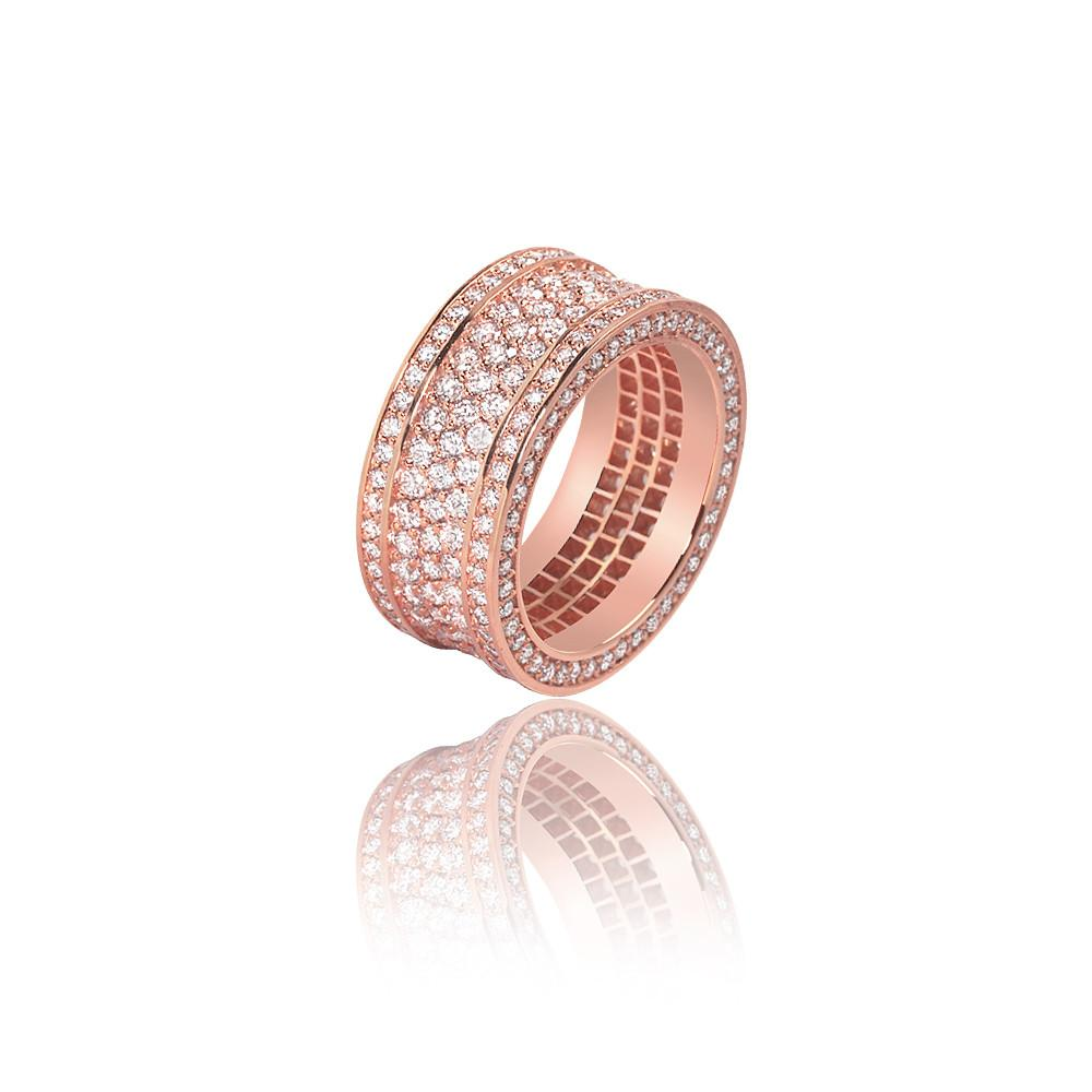 Massimo Ring 3-row Fully Iced Ifandco Rose Gold
