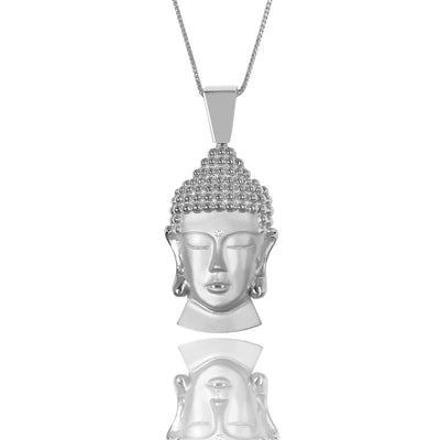 Silver Baby Buddha Necklace (Diamond Urna) - Pendants - IF & Co.