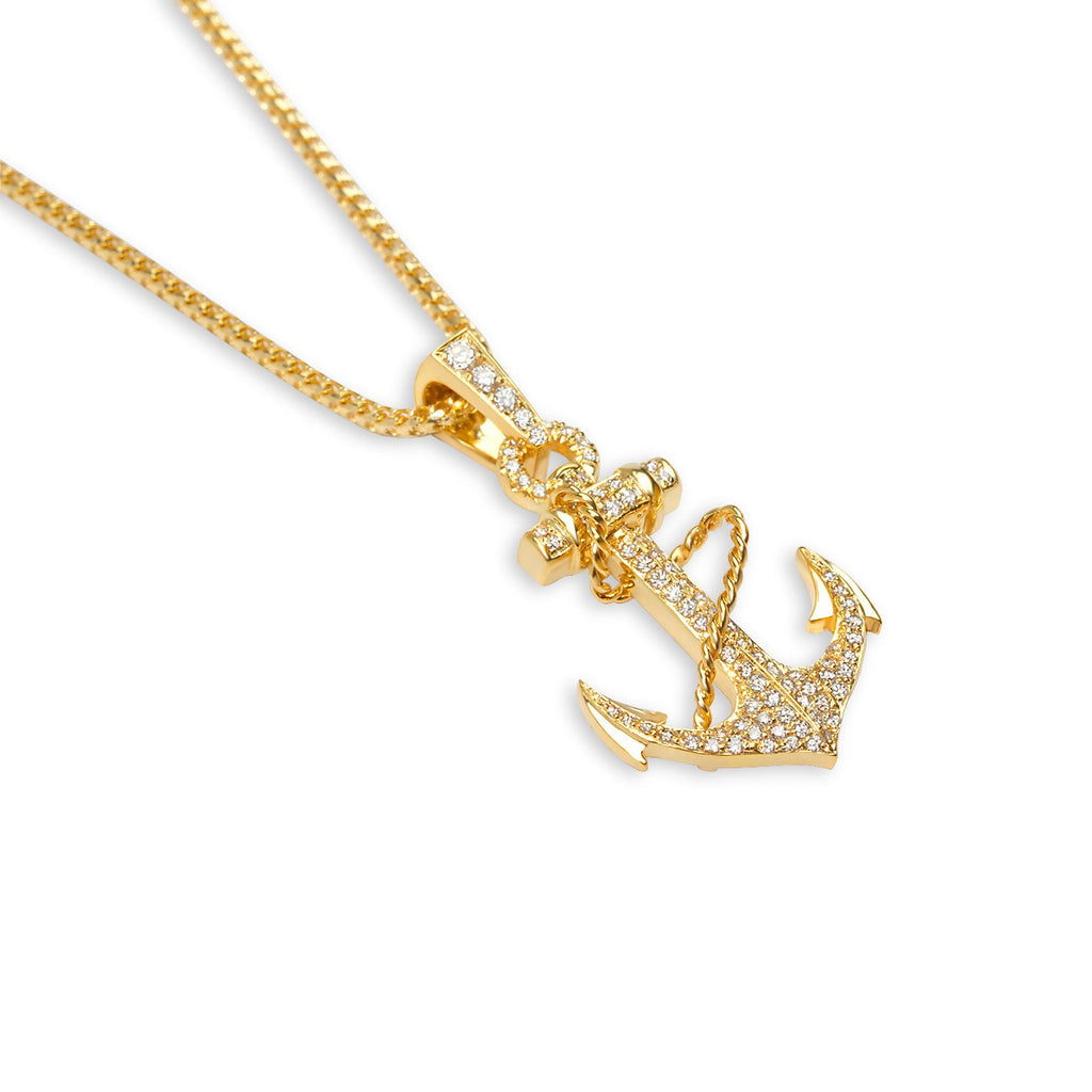 Micro diamond anchor necklace fully iced if co micro anchor necklace diamond pendants if aloadofball Gallery