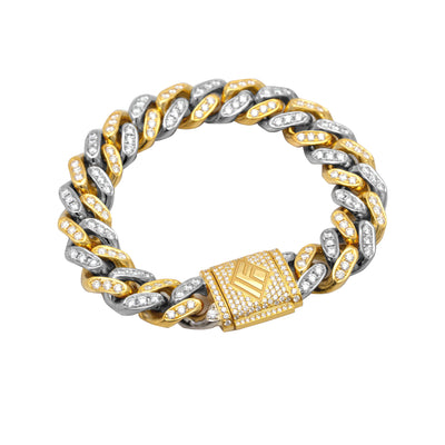 Diamond Cuban Link Bracelet (11mm, Two-Tone Platinum/Gold Oversized Bustdown) - Bracelets - IF & Co. Custom Jewelry