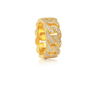 Baby Cuban Link Eternity Ring (Fully Iced) - Rings - IF & Co. Custom Jewelry