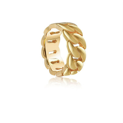Baby Gold Cuban Link Ring - Rings - IF & Co. Custom Jewelry