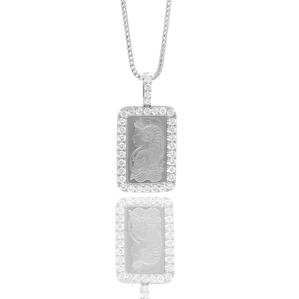 Milli 5g Suisse Platinum Bar (Lady Fortuna, Fully Iced) - Pendants - IF & Co. Custom Jewelry