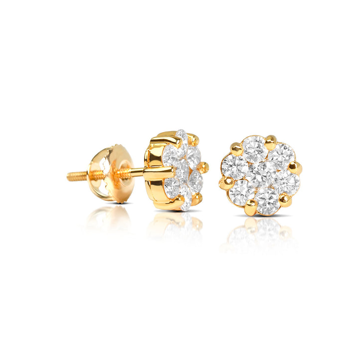 Baby Dax Diamond Cluster Earrings - Yellow Gold Earrings - IF & Co.