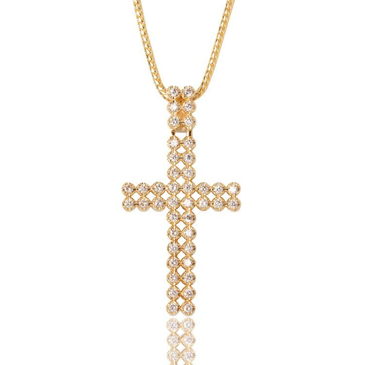 Diamond Peri Cross Yellow Gold Ifandco