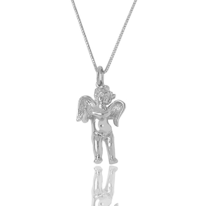 Silver Baby Cherub Angel Necklace (Praying Hands, Diamond Eyes) - Pendants - IF & Co.