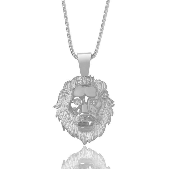 Silver Baby Lion Necklace (Diamond Eyes) - Pendants - IF & Co.