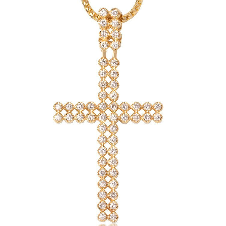 Diamond Peri Cross Ifandco Yellow Gold