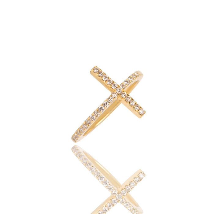 Ally Diamond Cross Ring - Yellow Gold Rings - IF & Co.