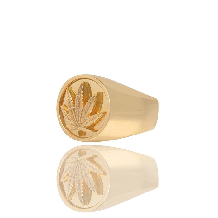Gold Bezeled Leaf Ring - Rings - IF & Co.