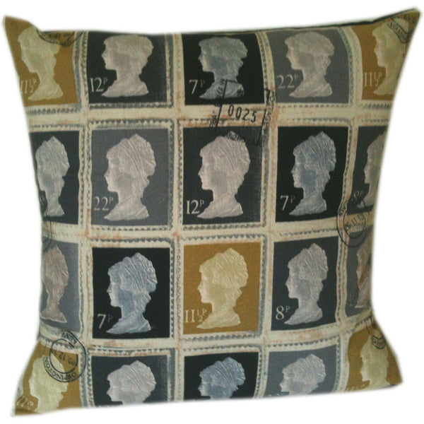 British Stamp Style Designer Pillow Cushion Covers - Grey Charcoal Mustard Gold / Include Insert -  Little British Shop - 2