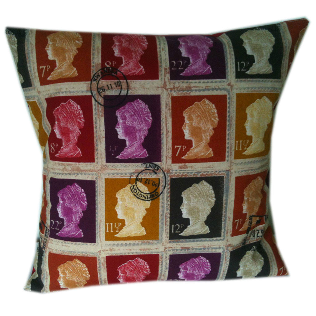 British Stamp Style Designer Pillow Cushion Covers - Mulberry Red Purple Mustard Gold / Include Insert -  Little British Shop - 1