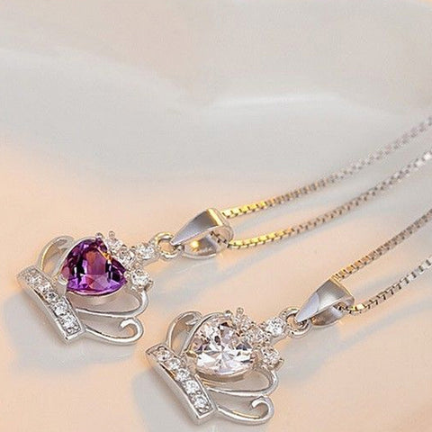 Queen Elizabethian Crystal Crown 925 Sterling Silver Necklace -  -  Little British Shop - 1