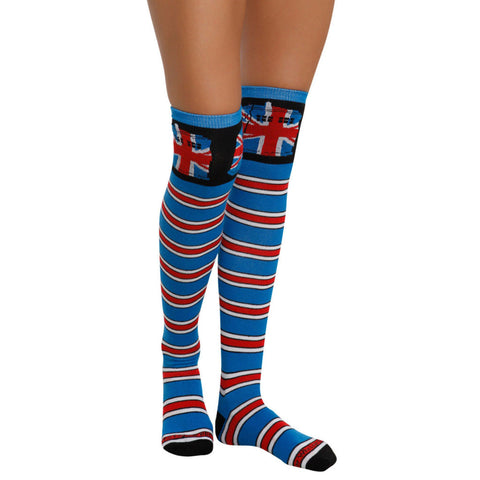 Doctor Who Union Jack Tardis Striped Over The Knee Socks -  -  Little British Shop - 1