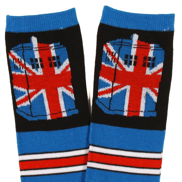 Doctor Who Union Jack Tardis Striped Over The Knee Socks -  -  Little British Shop - 3