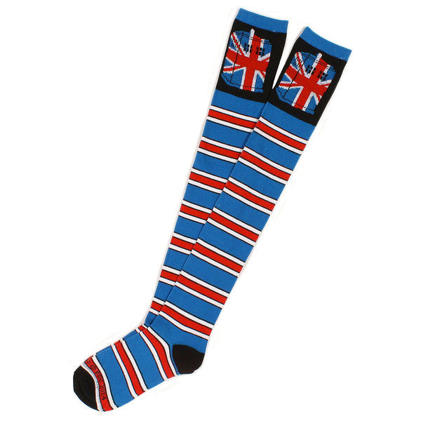 Doctor Who Union Jack Tardis Striped Over The Knee Socks -  -  Little British Shop - 2